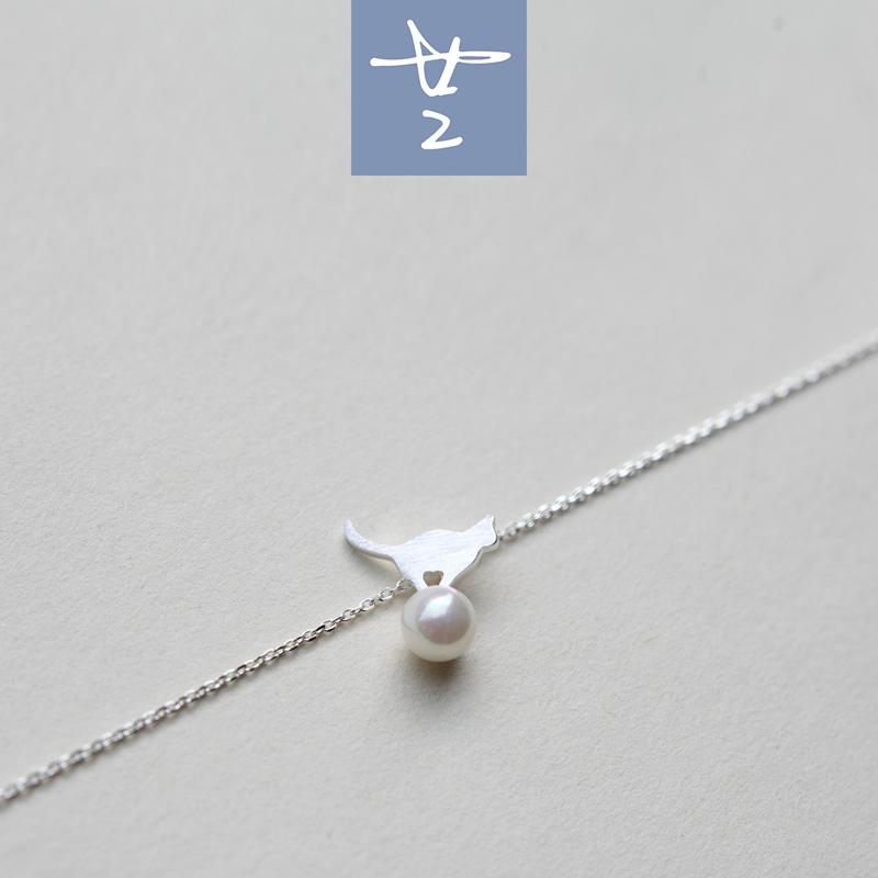 素银小猫贝珠锁骨链