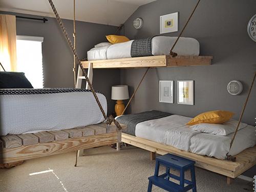 花瓣家居:双胞胎上下床设计,节省住宅空间