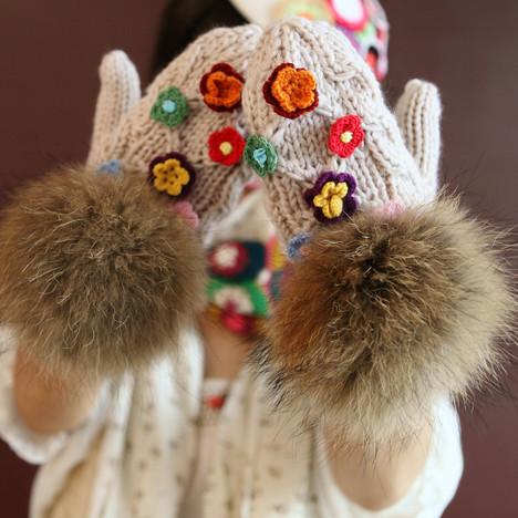 花瓣穿搭:手工编织手套,伴你温暖过冬