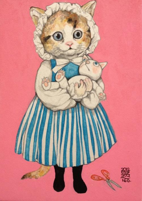 樋口裕子插画作品:猫人的生活百态