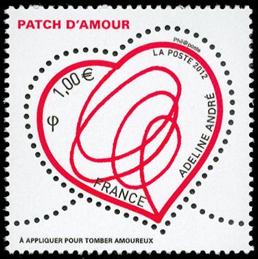 """""""迷你""""浪漫广告:法国情人节心形邮票"""
