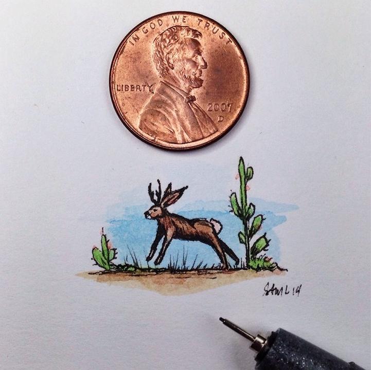 """比硬币还小的""""迷你插画"""""""