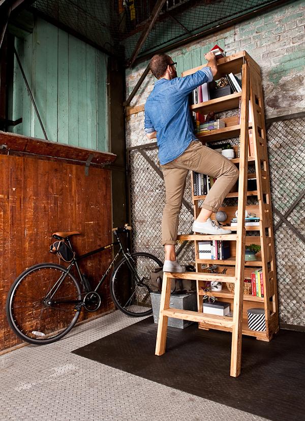 取物无忧,带梯子的创意书架