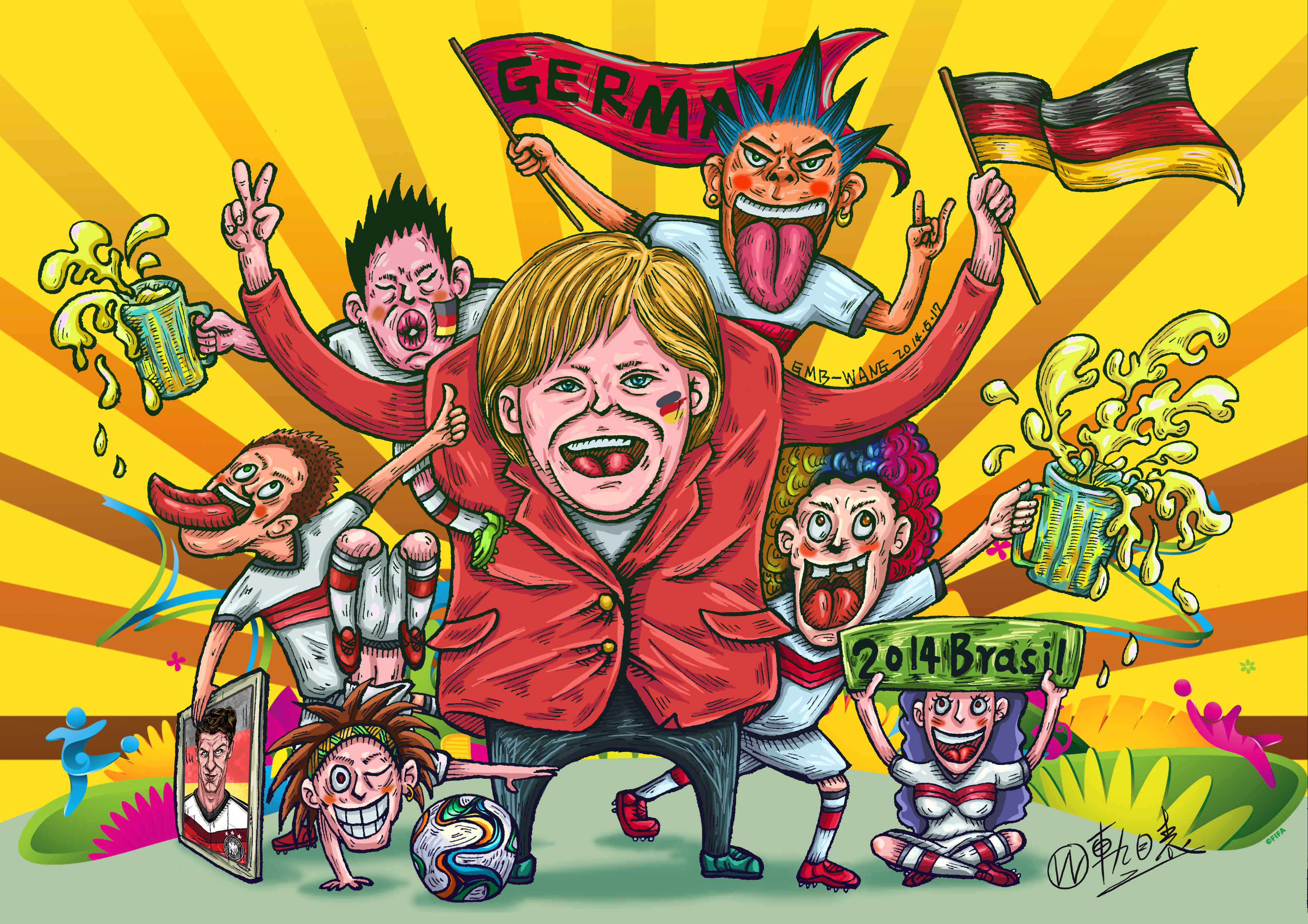 大有看头的世界杯人物插画