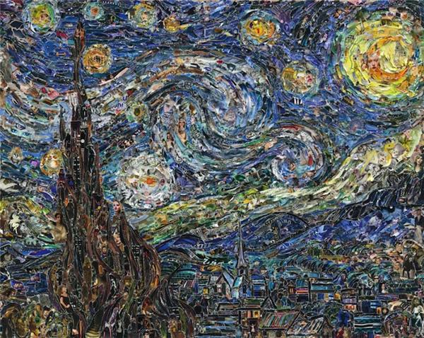 用碎纸片复刻出的著名油画